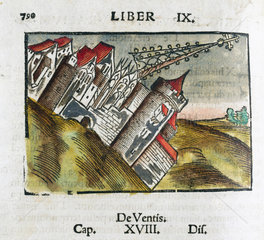 Buildings being toppled by an earthquake  1535.