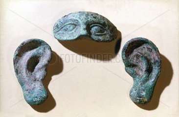 Roman votive eyes and ears  bronze  200 BC-100 AD.