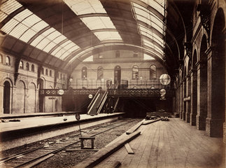 Gloucester Road Station  London  during construction  c 1867.