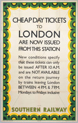 'Cheap Day Tickets to London are now issued from this station'  1939.