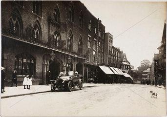 Motor car parked outside a hotel  Shrewsbury  Shropshire  c 1912