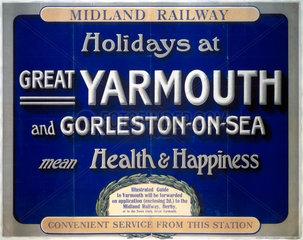 'Holidays at Great Yarmouth and Gorleston-on-Sea'  MR poster  1923-1947.