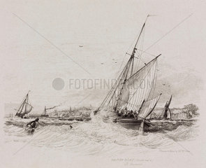 Double reefed Hatch-boat off Gravesend  Kent  1829.