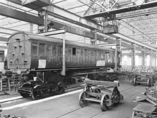 Carriage repairs at Newton Heath Works  Greater Manchester  1927.