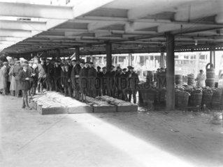 Fish market at Fleetwood docks  1910.