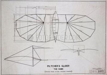 Pilcher's 'Hawk' glider  c 1890s.