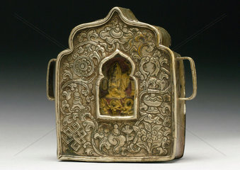 Metal shrine containing an image of the Buddha  Tibetan  19th century.