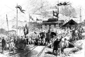 First train throught the St Gotthard tunnel  Switzerland  1880.