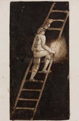 'Miner with candle  climbing ladder'  Alston Moor  Northumberland  c 1805-30.