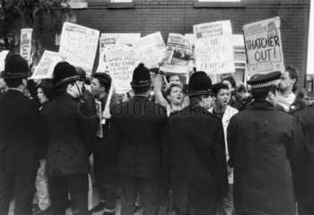 Socialist students protesting over the visit of Margaret Thatcher  22 May 1987.