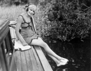 Woman in a bathing costume  c 1920s.