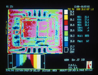 Thermal image of an electronic circuit  c 1980s.