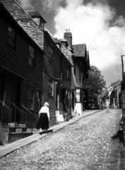 Cobblestone street in a European village  c