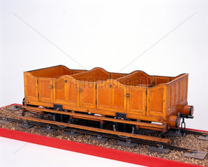 Early third class railway carriage  c 1840.