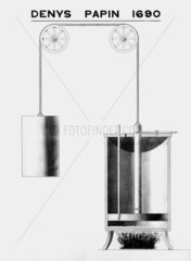 Denis Papin's steam cylinder apparatus  1690.
