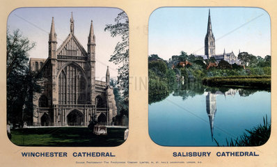 Winchester Cathedral  Hampshire  and Salisbury Cathedral  Wiltshire  1910s.