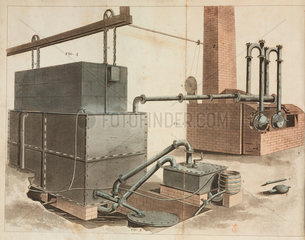 Perspective view of gaslight apparatus for lighting factories  1816.