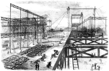 Constructing the Crystal Palace  Hyde Park  London  1850.
