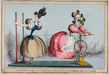 'A Correct View of the New Machine for Winding up the Ladies'  c 1830.