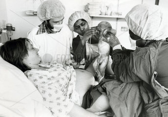 Woman giving birth  April 1982.