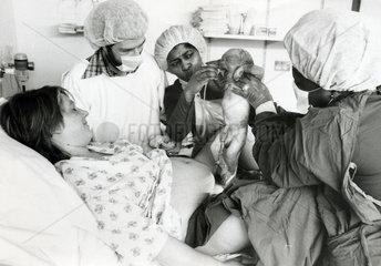Woman giving birth  April 1982.