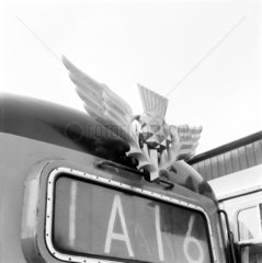 Thistle emblem attached to front of Deltic locomotive  9 March 1964.