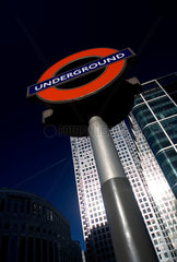Underground sign in front of Canary Wharf  Docklands  London  2007.