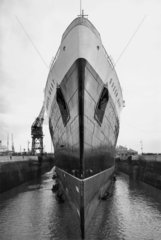 The Queen Mary in dock at Southampton  29 March 1936.