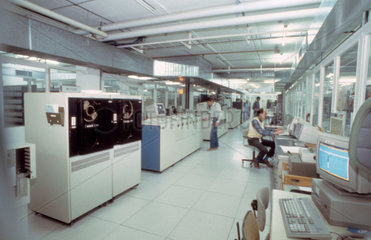 Control Room of CERN's automated tape vault  1990s.