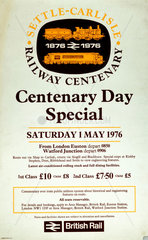 'Settle-Carlisle Railway Centenary Day Special'  BR poster  1976.