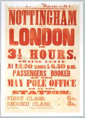 Handbill advertising the Nottingham-London route  1856.