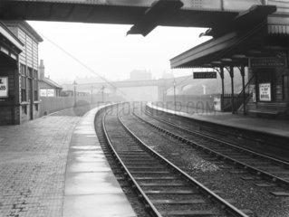 Platform at Droylsden Station  Greater Manchester  4 November 1929.