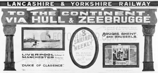 Poster advertising trips from Hull to Zeebrugge  27 September 1912.