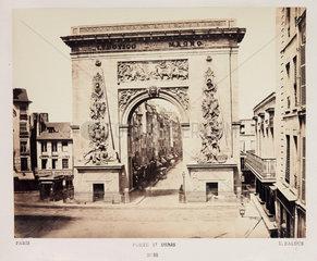 'Porte St Denis'  Paris  c 1865.