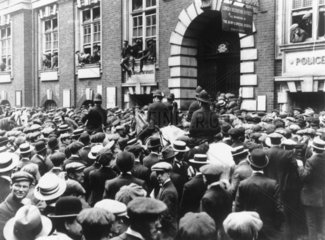 Crowds waiting to enlist following the outbreak of war  August 1914.