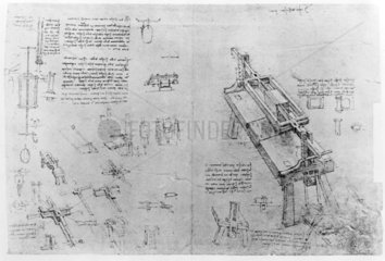 Sketch of a machine for sawing stone.