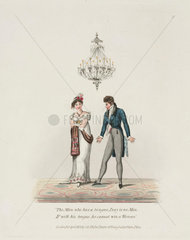 Courting couple under a gas chandelier  1821.
