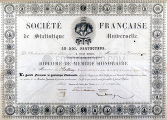 Honorary diploma from the French Society of Universal Statistics  1833.