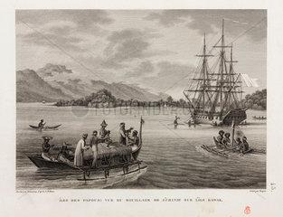 The 'Uranie' at anchor  Island of Rawak  1817-1820.