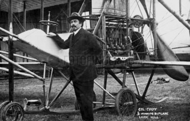 Samuel Franklin Cody with his winning biplane at Larkhill  Wiltshire  1912.
