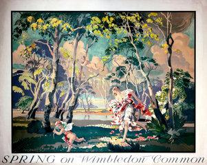 'Spring on Wimbledon Common'  London Underground poster  1935.