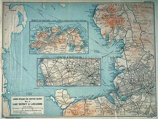 Map of the London Midland& Scottish Railway  c 1930.