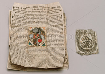 Amulet and charm to protect against plague  German  1690-1710.