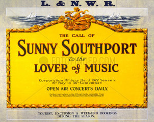 'The Call of Sunny Southport'  LNWR poster  1922.