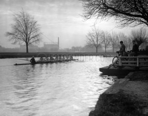 Rowing scene on the Cam  31 January 1934. '