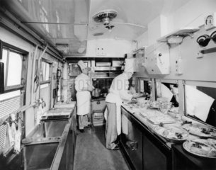 British Railways chefs at work in a kitchen car  March 1951.