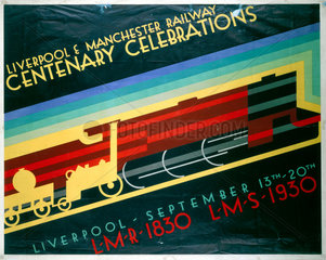 'Liverpool & Manchester Centenary Celebrations'  LR and MR poster  1930.
