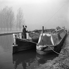 Beresford Brothers' boats at Fishery Lock on a frosty morning  1950.