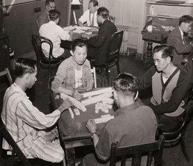 Chinese seamen playing Mahjong  2 August 1962.