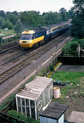 BR Inter-City 125 diesel locomotive pulling a train at Dringhouses  c 1980s.